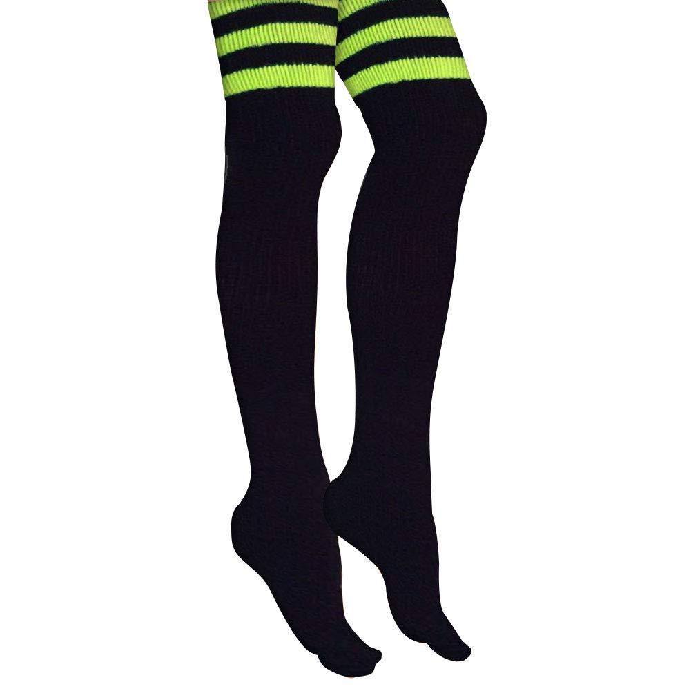 3207c03f8 Amazon.com  AJs Retro Thigh High Tube Socks - Black