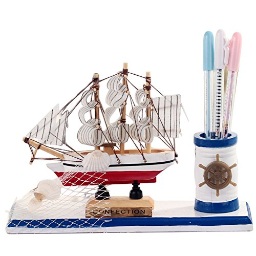 (Cupcinu Wooden Pen Holder with Mediterranean Style Wood Sailboat Ornaments Desk Organiser Wood Sailboat Ornaments 22157CM)