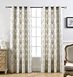 "DriftAway Aubree Fleur Pattern Embroidered Jacquard Room Darkening/Thermal Insulated Window Curtains, 2 Panels, each 50""x84"", Shimmery Gray"