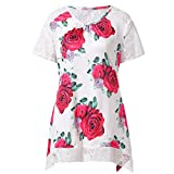 Women Dresses Casual Cover up Plain Pleated Boho Beach Lace Floral Printed Mini Dress (S, White)