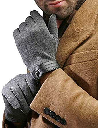 Mandys Mens Autumn Winter Plush Lining Driving Button Gloves Touch Screen one size fit most, grey