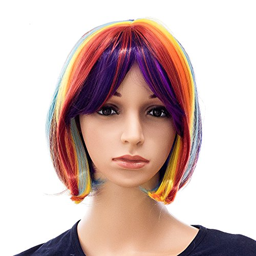 SWACC Rainbow Colors Straight Short Hair Bob Wig Synthetic Colorful Cosplay Daily Party Flapper Wig for Women and Kids with Wig -