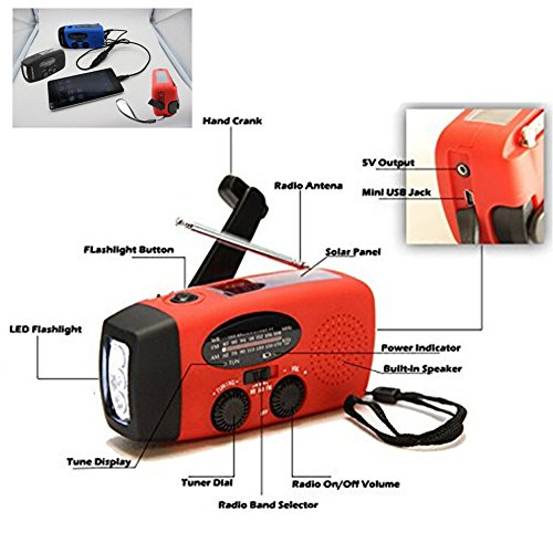 ASDOMO Emergency Dynamo Solar Self Powered ,Protable Emergency Hand Crank Generator Solar AM/FM/WB Radio Flashlight Charger Waterproof Emergency Survival Tools HY-88WB (Generator Radio)
