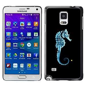 Smartphone Rígido Protección única Imagen Carcasa Funda Tapa Skin Case Para Samsung Galaxy Note 4 SM-N910F SM-N910K SM-N910C SM-N910W8 SM-N910U SM-N910 Seahorse Blue Light Black Ocean Sea Creature / STRONG