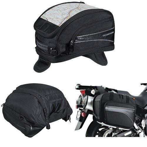 Nelson-Rigg CL-2015-MG Black Magnetic Mount Journey Sport Tank Bag,  CL-3000 Black Highway Cargo Pack,  and  (CL-855) Black Touring Adventure Saddlebag Bundle