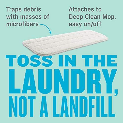 E-Cloth Deep Clean Mop Dusting Head, Reusable Microfiber Dusting Mop Head, 300 Wash Guarantee, 2 Pack