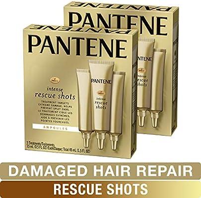 Pantene, Rescue Shots Hair Ampoules Treatment, Intensive Repair of Damaged  Hair, Pro-V, 0 5 fl oz (3 Count), Twin Pack