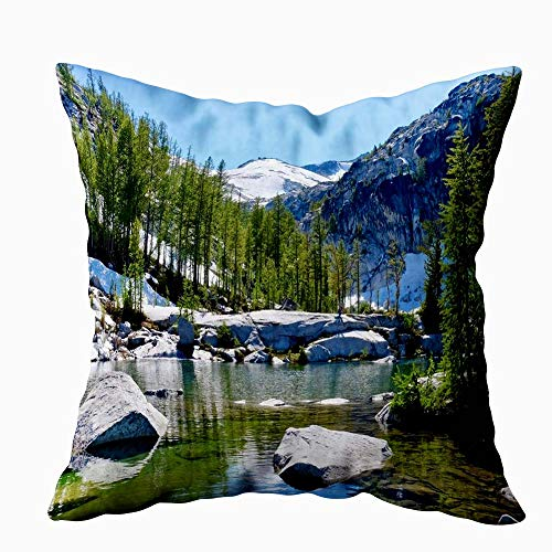 ROOLAYS 20X20 Pillow Case, Square Throw Pillowcase Covers Alpine Lake with Clear Water Trees and Rocks Lakes Basin Cascade Mountains Washington United Both Sides Farmhouse Decor Cushion