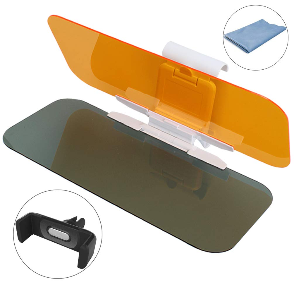 HQzon Rugged Car Windshield Sun Visor Extender 2 in 1 Day and Night Anti-Glare Premium Quality Universal Sunshade Windshield Driving Visor for Eye Protection 2Pack