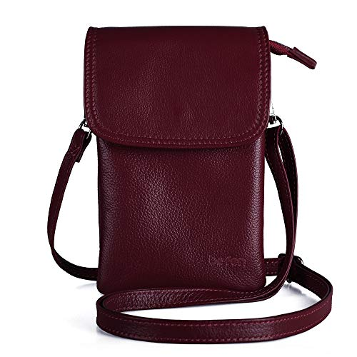 Befen Cell Phone Crossbody Wallet Purse, Women Small Leather Crossbody Bag - Fit iPhone Xs Max (Burgundy)