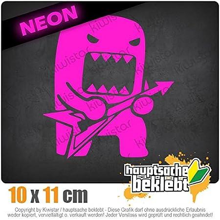 Neon Sticker Aufkleber Chrom Rock Domo mit Gitarre 10 x 11 cm IN 15 FARBEN