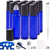Pure Acres Farm, 12, Cobalt Blue, 10 ml Glass Roll-on Bottles with Stainless Steel Roller Balls. 3 ml Droppers included