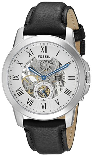Fossil Men's ME3053 Grant Stainless Steel Automatic Watch with Black Leather Band ()