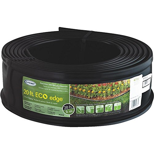 "Suncast Professional Landscape Edging Roll - Plastic Lawn Edging and Landscape Border - Conforms to Any Shape - 20"" Coiled Roll - Black"