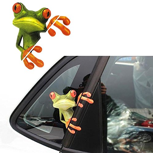 3D Peep Frog Funny Car Stickers Truck Window Decal Graphics Sticker (Green, 12 x 14 (Frog License Plate Frame)