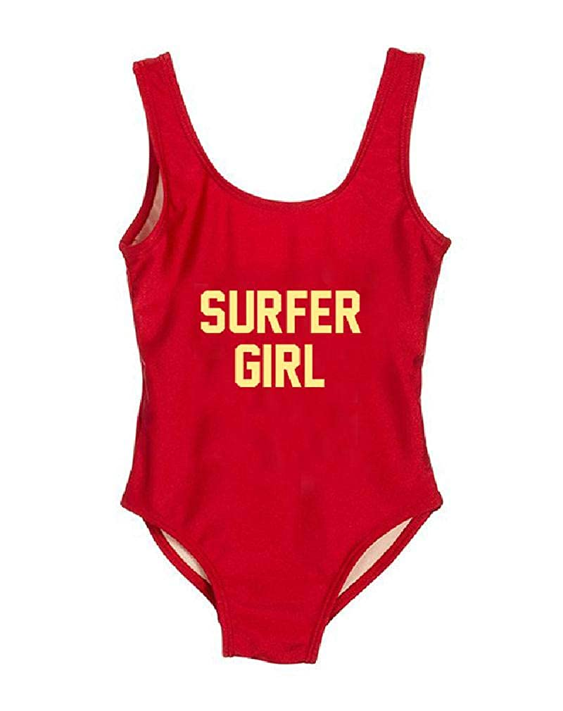 HK One Piece Swimsuit Cute Swimwear Summer Letter Print Surfer Girl Kids Children Beachwear