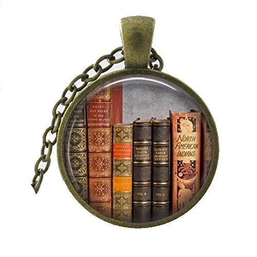 Library Book Necklace, Librarian Pendant, Bibliophile, Classic Literature, Book Quote, Literary, Literacy, Gift Idea, Book Lovers, Read (8) ()