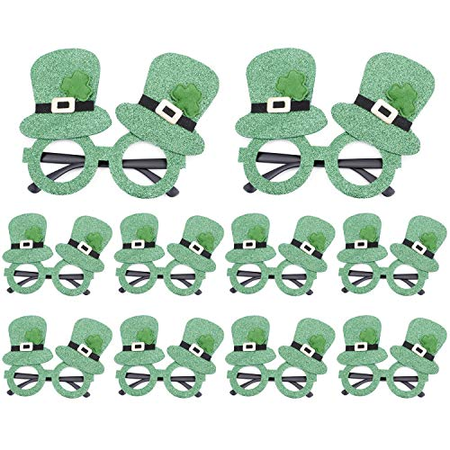 10 PCS St. Patrick's Day Glasses, Giveme5 Irish Shamrock Sunglasses Green Clover Leprechaun Costume Glasses Eye Glasses for Adults and Kids Irish Party Favors