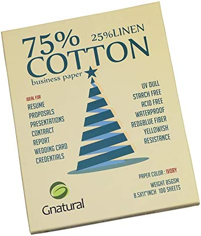"75% cotton 25% linen paper,85gsm inkjet printing paper,8.5""x11"" ivory colour resume paper,100 sheets Won't get rainy cotton paper"