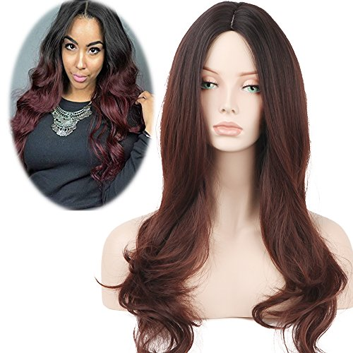 YOPO Brown Ombre Wig Charming Long Curly Black to Dark Brown Wigs Dark Roots Natural Wavy Hair Full Wig No Bangs Heat Resistant Synthetic wig for Women None Lace Wig (27