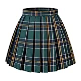 Girl's A-line Kilt Plaid Pleated Skirts (XS,Dark Green Mixed White)