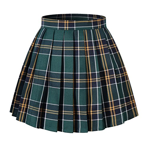 Girl's A-line Kilt Plaid Pleated Skirts (XS,Dark Green