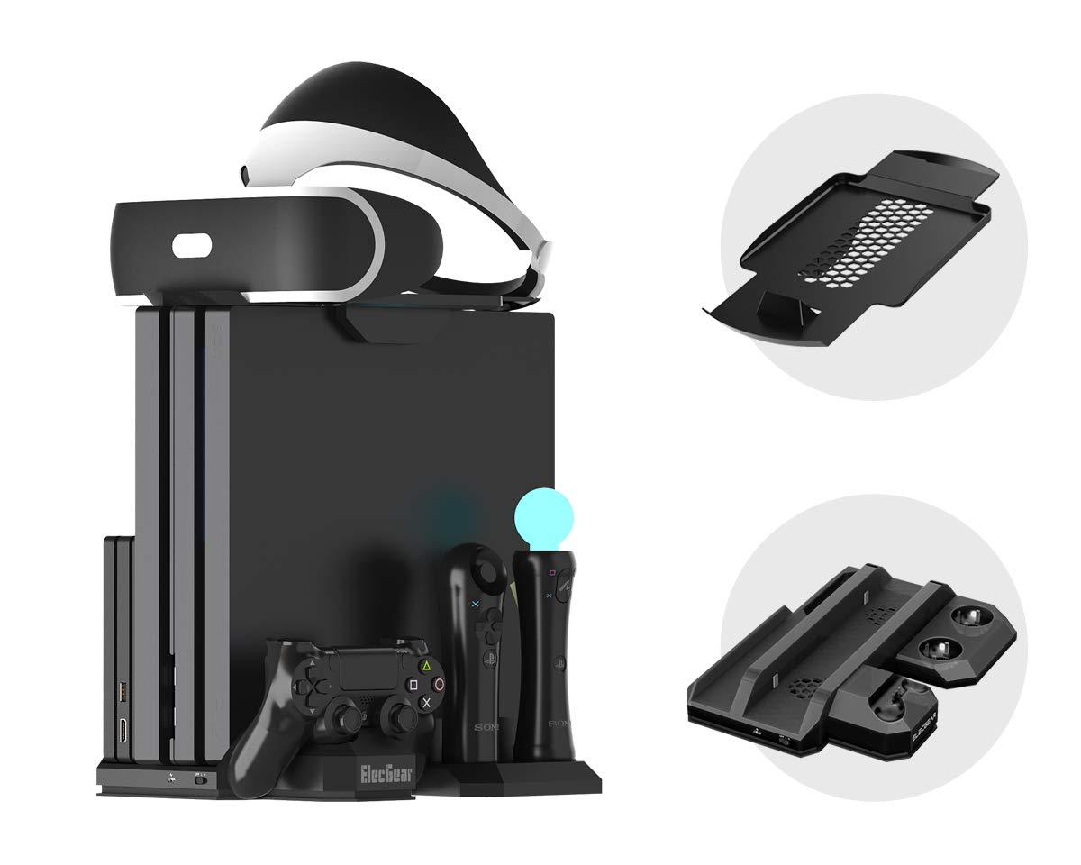 Charger & Vertical Display Stand – Multi Charging Station, Cooling Fan Cooler, PSVR Glasses Holder Bracket for…