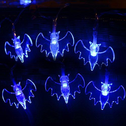 Halloween String Lights, YUNLIGHTS 11.4ft 30 Blue Bats Lights Halloween Decoration Lights, Battery Powered