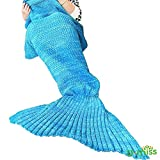 "Image of U-miss Mermaid Blanket Crochet and Mermaid Tail Blanket for adult, Super Soft All Seasons Thicken Sleeping Blankets (71""x35.5"",  Blue)"