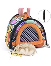 CROWNY Hamster Carrier Bag- Small Animal Portable Breathable Outgoing Bag Small Guinea Pig Hedgehog Carriers with Detachable Strap Double Zipper Travel Pets