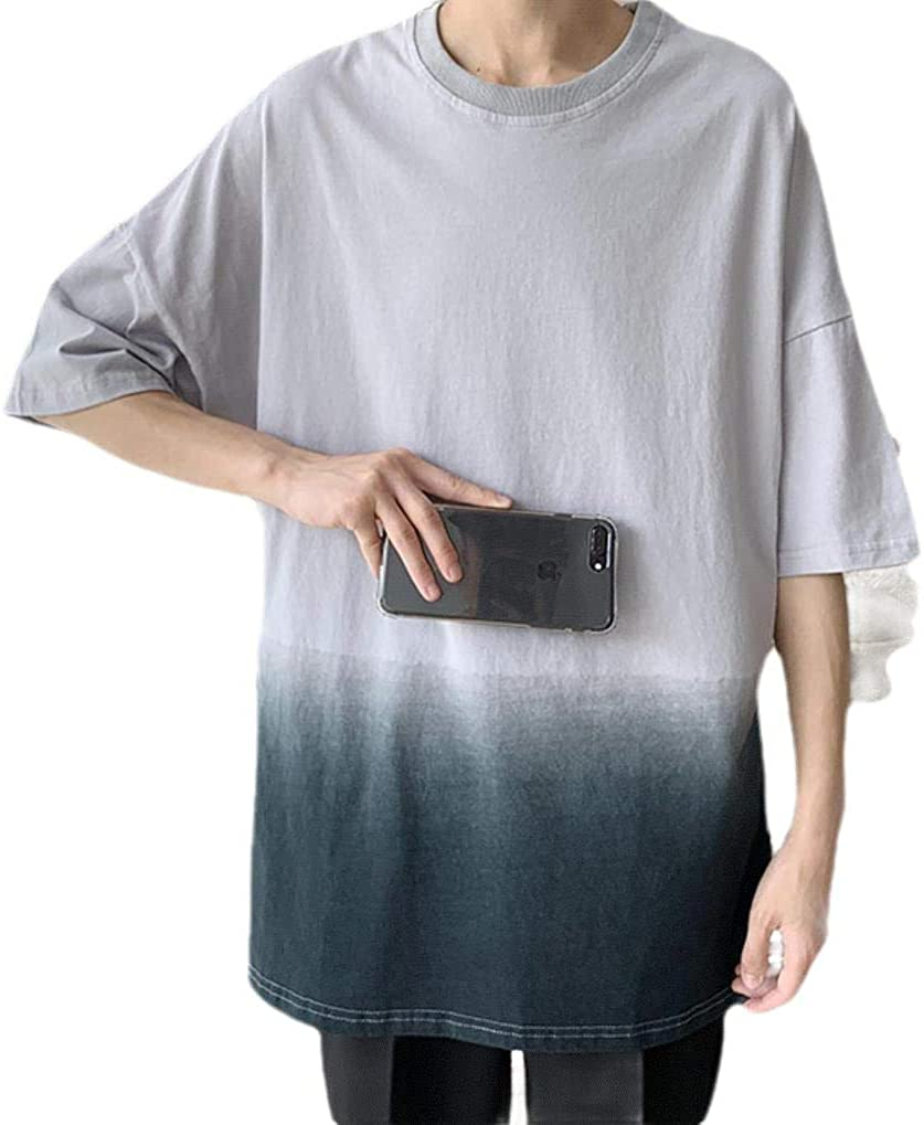 Zimaes-Men Blouse Tops Slim Fit Short-Sleeve Gradient Ramp Tunic Shirt
