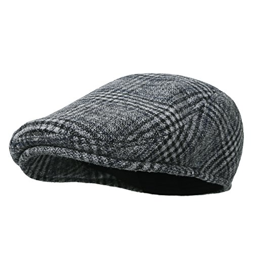 Howels Glen Plaid Wool Vintage Irish Newsboy Cap Duckbill Flat Hunting Hat, (Plaid Vintage Hat)