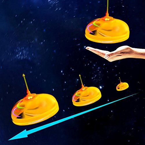 Christmas Gift Drone,Nesee RC Flying UFO Drone Helicopter Ball Built-in Shinning LED Lighting Toy (Yellow)