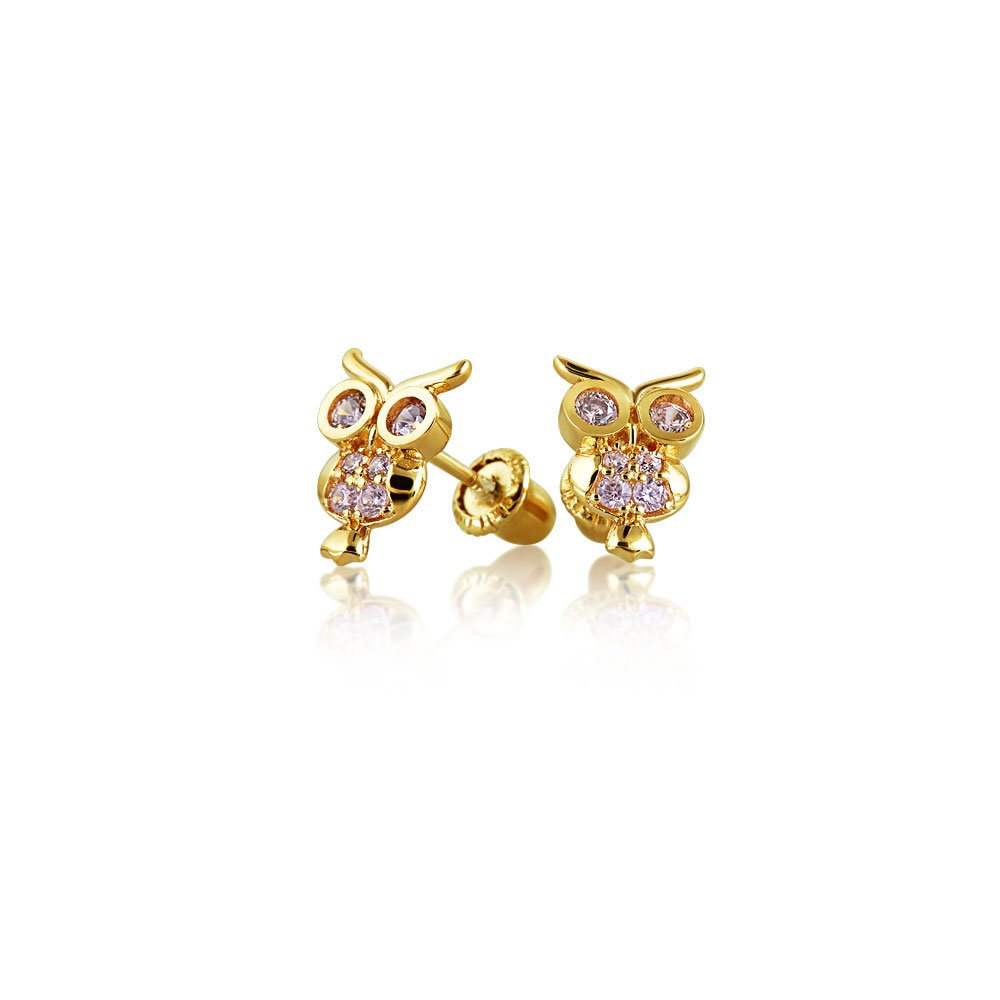 Simulated Pink Topaz CZ Owl Animal Bird Baby Girl Stud Earrings in 14K Gold with Screwbacks Bling Jewelry GIO-FE2894