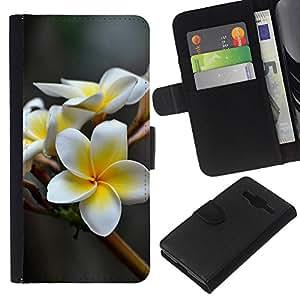 Protector de cuero de la PU de la cubierta del estilo de la carpeta del tirón BY RAYDREAMMM - Samsung Galaxy Core Prime - FLOR BLANCA