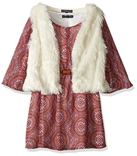 My Michelle Big Girls' Printed Peasant Dress with Belt and Fuzzy Soft, Vest, Merlot, 16 -