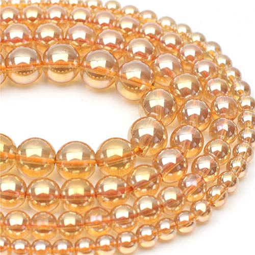 """Oameusa 12mm Electroplated Crystal Champagne Beads Round Beads Gemstone Beads Loose Beads Agate Beads for Jewelry Making 15"""" 1 Strand per Bag-Wholesale"""