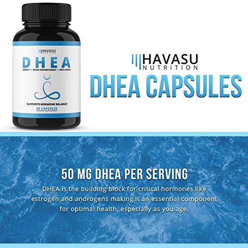 Havasu Nutrition DHEA 50mg Extra Strength Designed for Promoting Youthful Energy, Balance Hormone Levels & Supports Lean Muscle Mass, Non-Gmo, Supplement for Men & Women, 60 Capsules