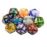 StarMall 10-Pack Two Color 20 Sided Dice D20 Polyhedral Dice