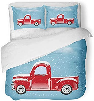 Old Red Truck With Christmas Tree In Back.Amazon Com Emvency Decor Duvet Cover Set Twin Size Red