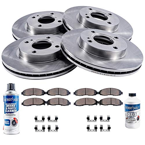 Detroit Axle - All (4) Front and Rear Disc Brake Rotors w/Ceramic Pads w/Hardware & Brake Cleaner for 2002 2003 2004 2005 Hyundai Elantra (Built between 2002 and 2/26/2005) ()