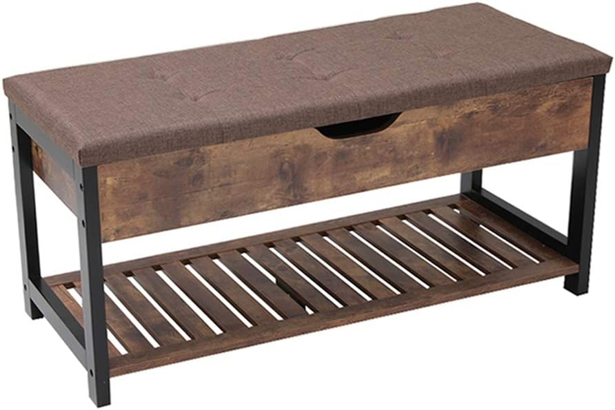 Usikey Shoe Bench with Storage Shelf, Multifunctional Storage Bench with Padded Cushion, Perfect for Entryway, Hallway, mudroom, Living Room and Corridor