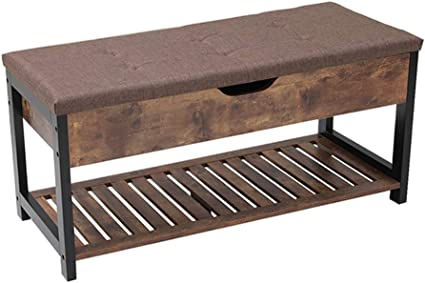 Usikey Shoe Bench with Storage Shelf, Multifunctional Storage Bench with Padded Cushion, Perfect for Entryway, Hallway, mudroom, Living Room and ...