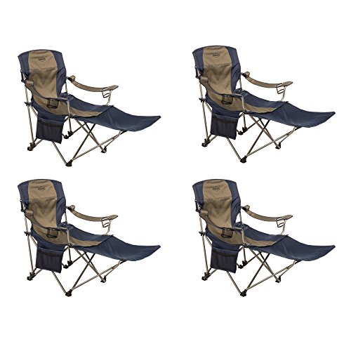 Kamp-Rite Folding Camping Chair with Detachable Footrest (4 Pack) -