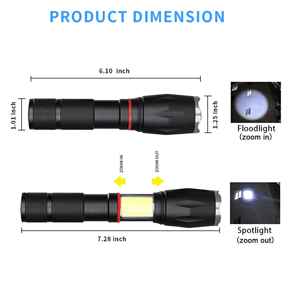 Ultra Bright Handheld Flashlight Adjustable Torchlight Focus 5 Modes Water Resistant Torch with Rechargeable 18650 Lithium Battery & Charger for Camping Hiking