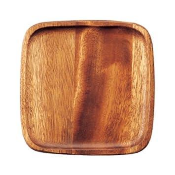 Yosue abierto madera de acacia placa 20 cm plato cuadrado [20,2 x 20