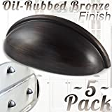"""Cabinet Hardware Bin Cup Drawer Handle Pull - 3"""" Inch (76mm) Hole Centers (5pk Oil Rubbed Bronze)…"""
