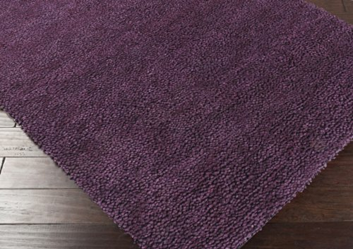 Surya Aros AROS-15 Shag Hand Woven 100% New Zealand Felted Wool Prune Purple 8' Round Area (Rugs Aros Wool Shag Rug)