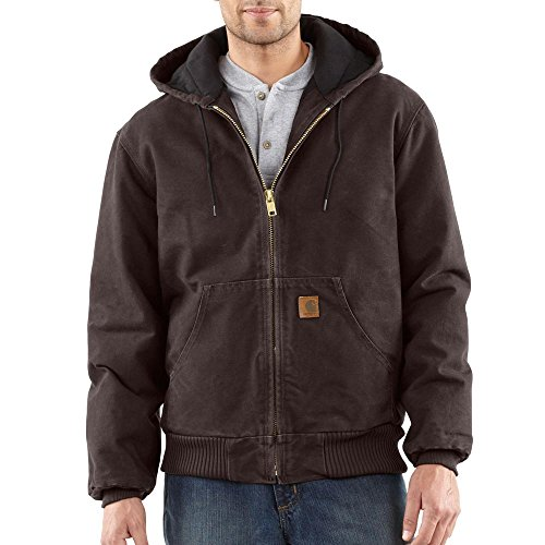 Washed Flannel Duck Lined Dungaree (Carhartt Men's J130 Sandstone Duck Active Jacket - Quilted Flannel Lined - 3X-Large Regular - Dark Brown)