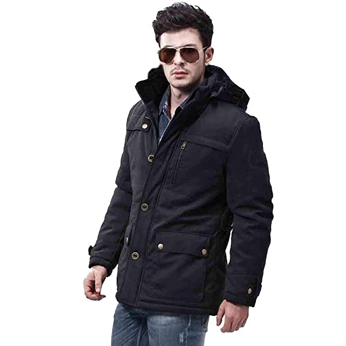 Amazon.com: YUTAO Men Winter Warm Jacket Overcoat Outwear Slim Long Trench Buttons Zipper Coat: Clothing